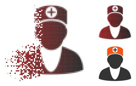 Vector doctor icon in fractured, pixelated halftone and undamaged whole variants. Disintegration effect uses square dots and horizontal gradient from red to black. Zdjęcie Seryjne - 112076451