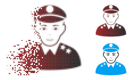 Vector army general icon in fractured, pixelated halftone and undamaged whole versions. Disintegration effect involves square particles and horizontal gradient from red to black.
