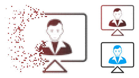 Vector video contact icon in sparkle, pixelated halftone and undamaged whole versions. Disappearing effect involves rectangle dots and horizontal gradient from red to black. Illustration