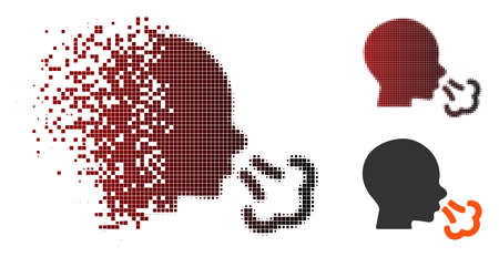 Vector sneezing icon in dispersed, dotted halftone and undamaged solid versions. Disappearing effect uses rectangular scintillas and horizontal gradient from red to black. Illustration