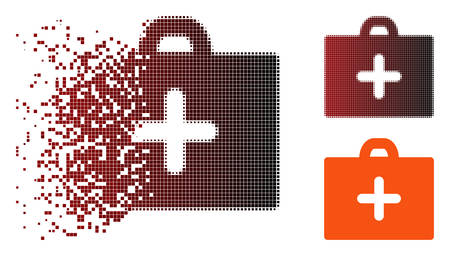 Vector first aid icon in dispersed, dotted halftone and undamaged whole versions. Disintegration effect uses rectangle sparks and horizontal gradient from red to black.