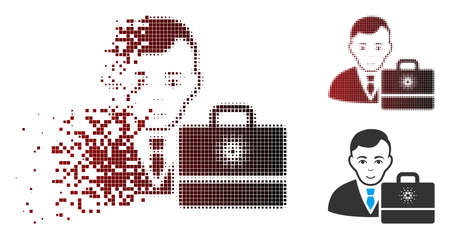 Vector cardano accounter icon in dispersed, pixelated halftone and undamaged entire versions. Disappearing effect involves square dots and horizontal gradient from red to black. Illustration