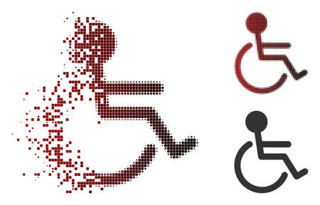 Vector handicapped icon in sparkle, pixelated halftone and undamaged solid versions. Disappearing effect uses rectangle dots and horizontal gradient from red to black. Illustration