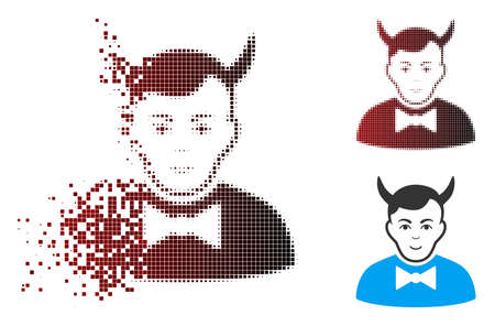 Vector devil icon in sparkle, dotted halftone and undamaged entire versions. Disappearing effect uses rectangular particles and horizontal gradient from red to black. Ilustração