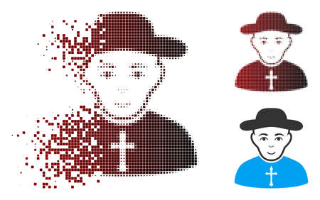 Vector Christian priest icon in fractured, dotted halftone and undamaged whole versions. Disappearing effect uses rectangular sparks and horizontal gradient from red to black.
