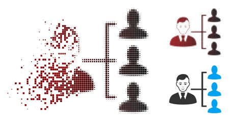 Vector distribution manager icon in dispersed, pixelated halftone and undamaged entire versions. Disintegration effect uses rectangular sparks and horizontal gradient from red to black. Illustration