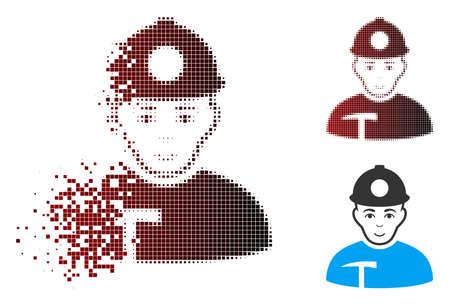 Vector miner icon in dissolved, pixelated halftone and undamaged whole variants. Disappearing effect involves rectangle particles and horizontal gradient from red to black.