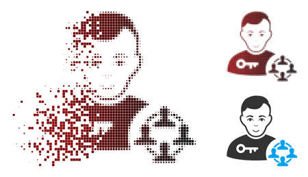 Vector social engineer icon in dissolved, pixelated halftone and undamaged entire versions. Disintegration effect involves square particles and horizontal gradient from red to black.