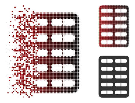 Vector pill blister icon in dissolved, pixelated halftone and undamaged solid versions. Disintegration effect involves square sparks and horizontal gradient from red to black.