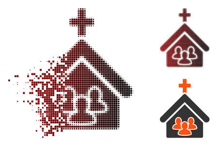 Vector church people icon in dispersed, pixelated halftone and undamaged entire variants. Disappearing effect involves rectangle particles and horizontal gradient from red to black.