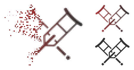 Vector crutches icon in dissolved, pixelated halftone and undamaged whole versions. Disappearing effect involves square sparks and horizontal gradient from red to black.