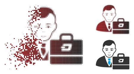 Vector Dash accounter icon in sparkle, pixelated halftone and undamaged whole versions. Disintegration effect uses rectangular sparks and horizontal gradient from red to black.