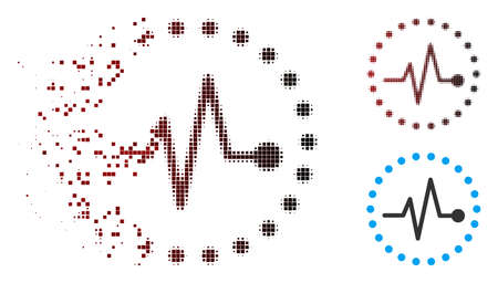 Vector pulse icon in sparkle, dotted halftone and undamaged entire versions. Disappearing effect uses square sparks and horizontal gradient from red to black.