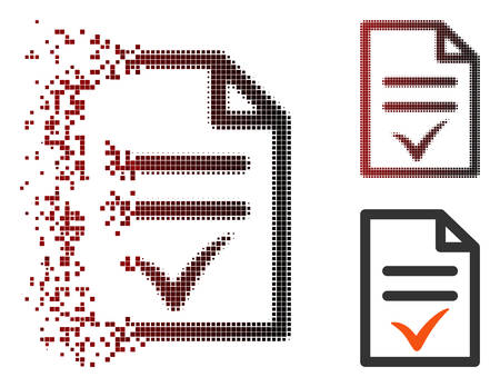 Vector valid document icon in dispersed, pixelated halftone and undamaged entire variants. Disappearing effect uses rectangular scintillas and horizontal gradient from red to black.