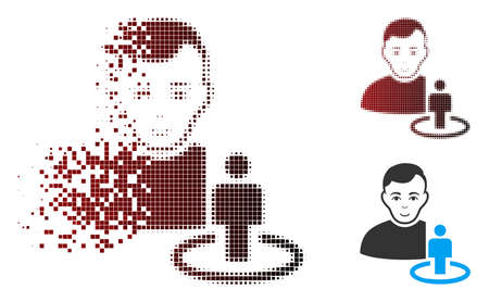 Vector portal moderator icon in dispersed, pixelated halftone and undamaged solid versions. Disappearing effect involves square dots and horizontal gradient from red to black. Illustration