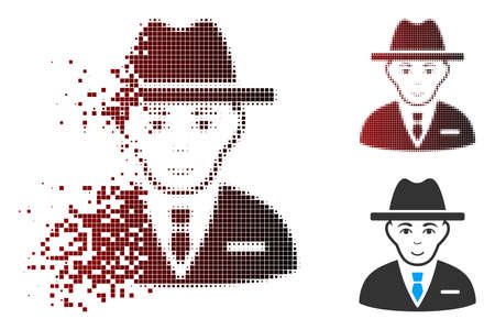 Vector agent icon in dispersed, pixelated halftone and undamaged entire versions. Disintegration effect involves rectangular scintillas and horizontal gradient from red to black.