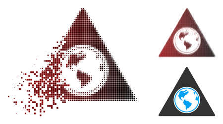 Vector terra triangle icon in fractured, pixelated halftone and undamaged whole versions. Disappearing effect uses square particles and horizontal gradient from red to black.