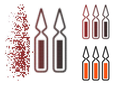 Vector ampoules icon in sparkle, dotted halftone and undamaged entire variants. Disappearing effect uses rectangular scintillas and horizontal gradient from red to black. Illustration