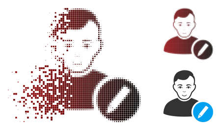 Vector user modify pencil icon in sparkle, dotted halftone and undamaged whole variants. Disappearing effect uses rectangle particles and horizontal gradient from red to black.