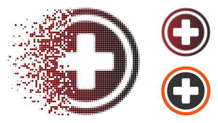 Vector rounded cross icon in sparkle, pixelated halftone and undamaged entire variants. Disintegration effect uses square particles and horizontal gradient from red to black.
