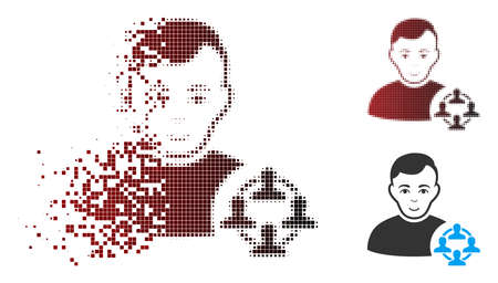 Vector social networker icon in fractured, pixelated halftone and undamaged solid versions. Disintegration effect uses rectangle particles and horizontal gradient from red to black.