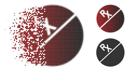 Vector tablet icon in dispersed, dotted halftone and undamaged solid variants. Disappearing effect involves rectangle dots and horizontal gradient from red to black.