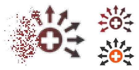 Vector medical distribution icon in fractured, pixelated halftone and undamaged entire variants. Disintegration effect uses rectangular sparks and horizontal gradient from red to black. Illustration