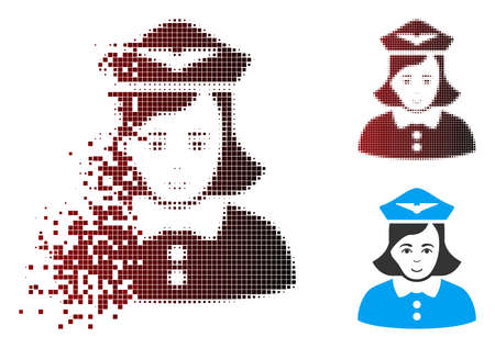 Vector airline stewardess icon in sparkle, dotted halftone and undamaged entire variants. Disappearing effect involves rectangle particles and horizontal gradient from red to black. Stock Illustratie