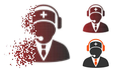 Vector emergency operator icon in dispersed, dotted halftone and undamaged entire versions. Disintegration effect involves rectangle scintillas and horizontal gradient from red to black.
