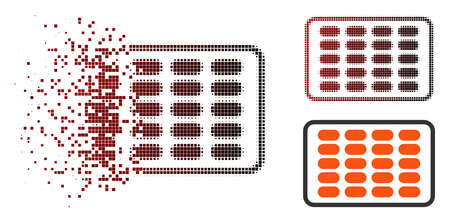 Vector blister icon in sparkle, dotted halftone and undamaged entire variants. Disappearing effect involves square particles and horizontal gradient from red to black.