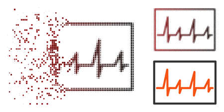 Vector cardiogram icon in dissolved, dotted halftone and undamaged entire versions. Disappearing effect involves square particles and horizontal gradient from red to black.
