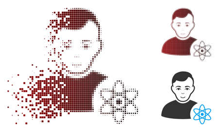 Vector atomic scientist icon in dispersed, pixelated halftone and undamaged entire versions. Disappearing effect uses square dots and horizontal gradient from red to black.