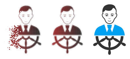 Vector captain icon in sparkle, dotted halftone and undamaged solid versions. Disappearing effect uses rectangle dots and horizontal gradient from red to black. Çizim