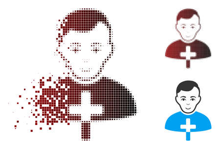 Vector Orthodox priest icon in dispersed, dotted halftone and undamaged entire versions. Disappearing effect involves square scintillas and horizontal gradient from red to black.