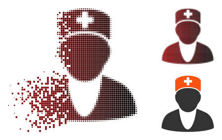 Vector medic icon in sparkle, pixelated halftone and undamaged entire versions. Disappearing effect uses rectangular dots and horizontal gradient from red to black. Zdjęcie Seryjne - 112076665