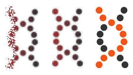 Vector DNA spiral icon in dispersed, pixelated halftone and undamaged solid variants. Disintegration effect involves square particles and horizontal gradient from red to black. Illustration