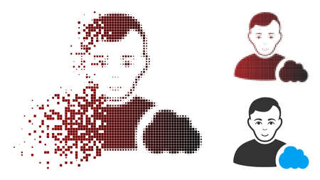 Vector user cloud icon in sparkle, pixelated halftone and undamaged entire variants. Disappearing effect involves square particles and horizontal gradient from red to black.