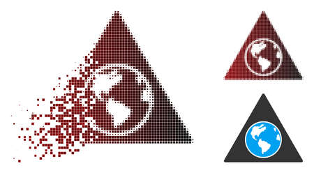Vector terra triangle icon in dispersed, dotted halftone and undamaged solid variants. Disappearing effect uses rectangular dots and horizontal gradient from red to black.