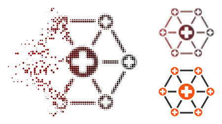Vector medical network icon in dispersed, dotted halftone and undamaged whole versions. Disintegration effect uses square particles and horizontal gradient from red to black. Illustration