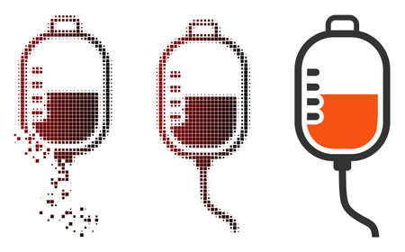Vector therapy dropper icon in sparkle, pixelated halftone and undamaged whole versions. Disappearing effect involves rectangle particles and horizontal gradient from red to black.