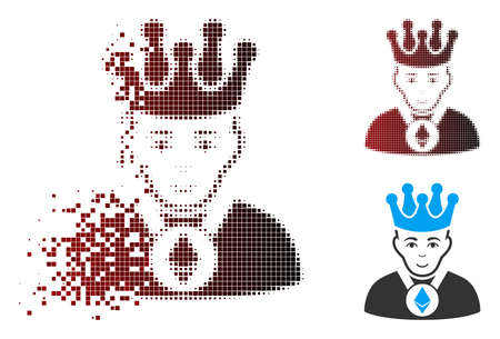 Vector Ethereum lord icon in sparkle, pixelated halftone and undamaged entire versions. Disintegration effect involves rectangle dots and horizontal gradient from red to black.