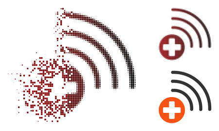 Vector medical source icon in dissolved, dotted halftone and undamaged whole variants. Disappearing effect uses rectangle particles and horizontal gradient from red to black. Illustration