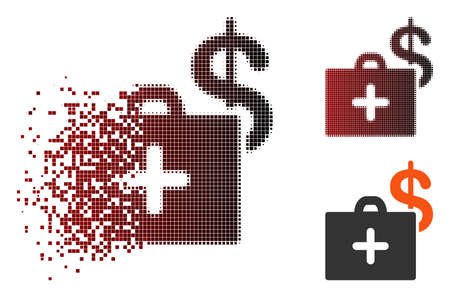 Vector medical fund case icon in fractured, dotted halftone and undamaged solid versions. Disintegration effect uses rectangle dots and horizontal gradient from red to black. Ilustrace