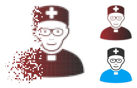 Vector monastic doctor icon in sparkle, dotted halftone and undamaged entire variants. Disintegration effect uses rectangular sparks and horizontal gradient from red to black. Zdjęcie Seryjne - 112076719