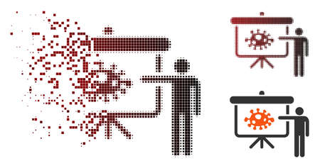 Vector bacteria lecture icon in dissolved, dotted halftone and undamaged whole versions. Disintegration effect involves rectangle sparks and horizontal gradient from red to black.