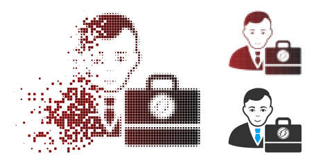 Vector electroneum accounter icon in fractured, pixelated halftone and undamaged entire variants. Disappearing effect involves square particles and horizontal gradient from red to black.