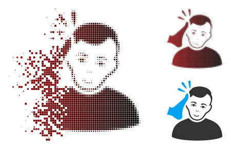 Vector kickboxer icon in dissolved, dotted halftone and undamaged whole versions. Disappearing effect involves rectangular particles and horizontal gradient from red to black.