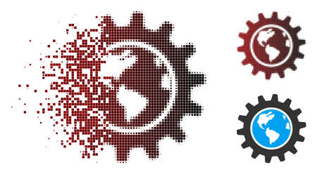 Vector Earth engineering icon in sparkle, dotted halftone and undamaged solid variants. Disappearing effect uses square particles and horizontal gradient from red to black.