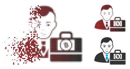 Vector Bitcoin cash accounter icon in sparkle, pixelated halftone and undamaged whole versions. Disappearing effect uses rectangular dots and horizontal gradient from red to black. Illustration