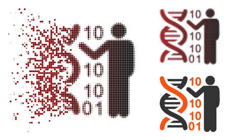 Vector DNA code report icon in dissolved, pixelated halftone and undamaged entire versions. Disintegration effect involves rectangle particles and horizontal gradient from red to black.
